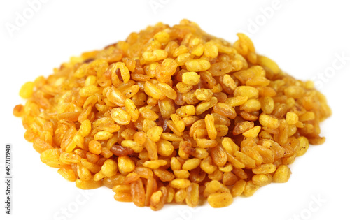 Fried Mung dal over white background