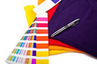 T shirts, color chart and pen