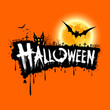 Halloween text design orange background, vector