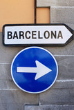 Road sign to Barcelona, Spain