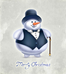 Vintage greeting card with illustration of snowman
