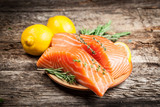 Fototapety Fresh salmon with lemon