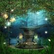 Ołtarz w lesie z magicznymi lampionami