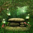 Skały w magicznym lesie z lampionami i grzybami