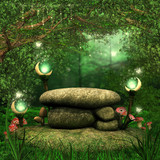 Fototapety Skały w magicznym lesie z lampionami i grzybami