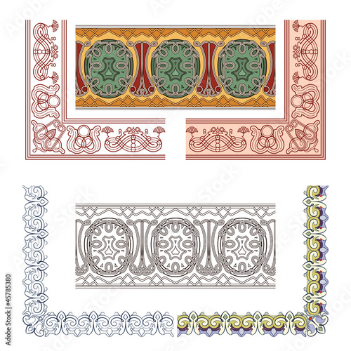 Art Nouveau seamless borders