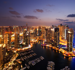 A view of Dubai Marina, UAE, at Dusk, also showing JBH