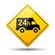 Señal amarilla simbolo reparto 24h