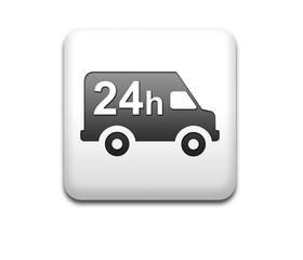 Boton cuadrado blanco simbolo reparto 24h