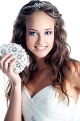 Happy sexy beautiful bride blond girl in white wedding dress wit