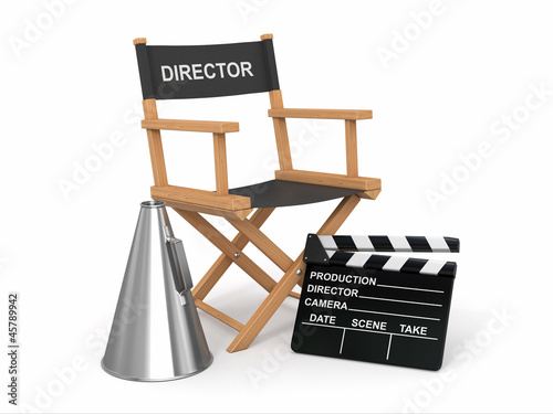 Movie industry. Producer chair, ñlapperboard and bullhornl.