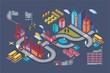 Colorful isometric city, vector background, city info graphics