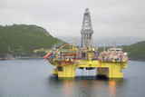 Oil trust in middle of river in Bergen , Norway