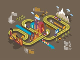 Colorful isometric city,