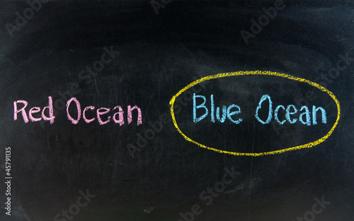 blue ocean strategy written on blackboard
