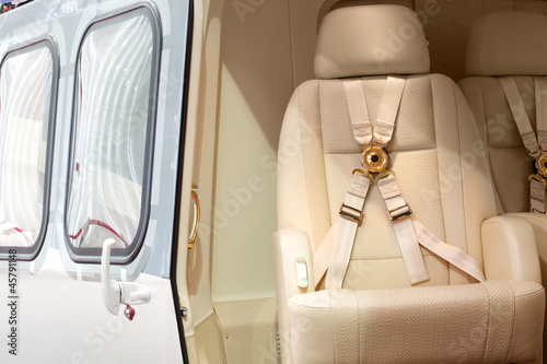 Fotobehang Helicopter Helicopter business class interior with chairs seat belts