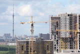 Construction of new high buildings, focus on crane