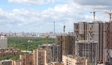 Construction of new apartment buildings in residential area