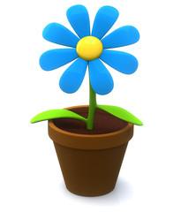 Blue flower icon - plant  in flowerpot 3d