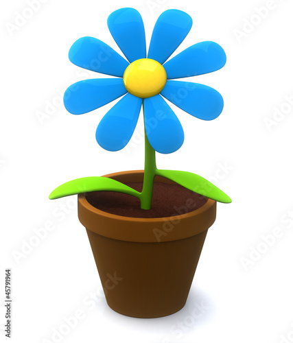 Blue flower icon - plant  in flowerpot 3d