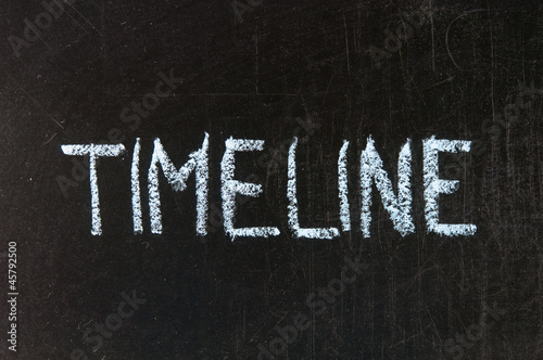 TIMELINE handwritten with chalk  on a blackboard