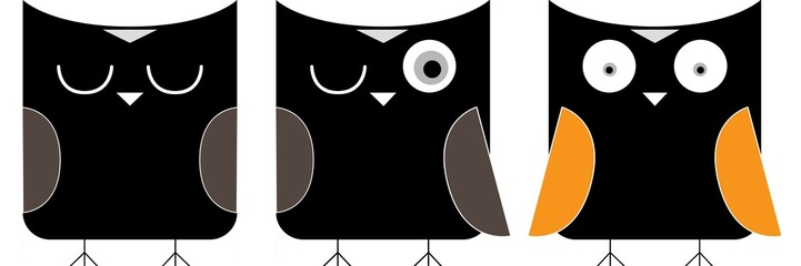 3 owls cartoon
