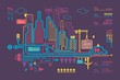 Colorful panorama city, vector background, city info graphics