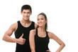 Two positive sportive people in black sportswear
