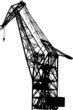 Vector silhouette of the port crane on a white background