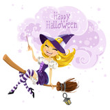 Cute witch flying on a broom and conjures wish Happy Halloween