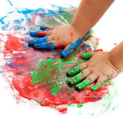 Baby hands painting.