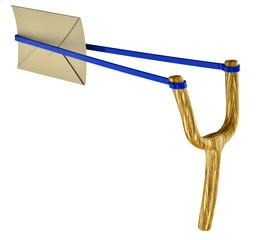 letter and slingshot
