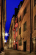 Stockholm Old Town alley at night.