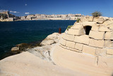 Air raid shelter and Grand harbour, Malta poster
