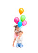 boy and girl are playing with balloons