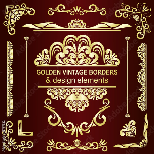 Golden vintage borders & design elements - vector set.