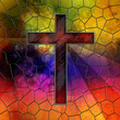 Red Glass Cross on stained glass window panel - 45798325