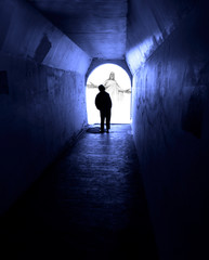 Man Seeking Jesus in Dark Tunnel