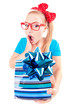 Funny girl excited by getting a present