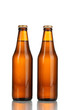 two bottles of beer isolated on white