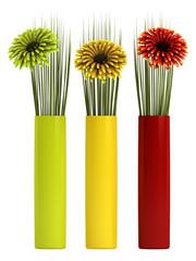 Three gerbera daisies