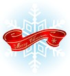 christmas banner red & snowflake