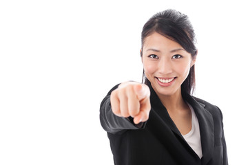 asian businesswoman pointing on white background