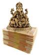 Ganesh, divinité hindoue sur liasse de billets