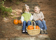 Brother and Sister Children Sitting on Wood Steps with Pumpkins