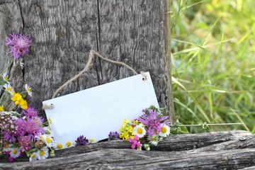 Schild in Blumen