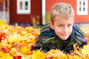 Blonder kleiner Junge im Herbstlaub vor Holzhaus in Schweden