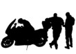 Retro motobike and people