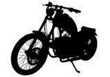 Czarny kontur motocykla retro