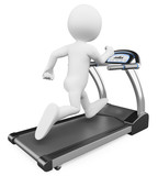 Fototapety 3D white people. Running on a treadmill